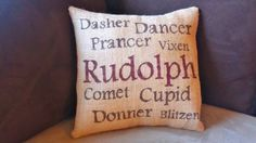 Reindeer Burlap Pillow Cover by JustLittleLoveables on Etsy, $30.00