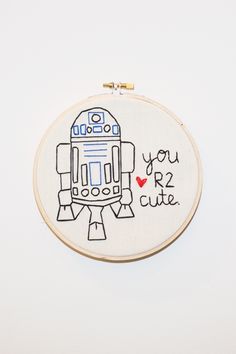 "KOE-ZEE  Who doesn't love Star Wars AND puns? It's the best of all words with this  hand embroidered wall hanging.  Framed in 6.75"" wooden embroidery hoop.  HANDMADE IN SEATTLE, WA  PIPE AND ROW"
