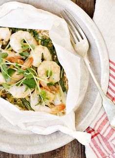 Shrimp, Bok Choy and Noodles en Papillote