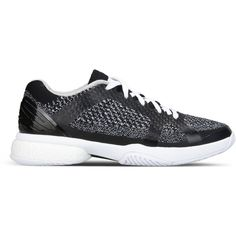 adidas by Stella McCartney Barricade Boost Tennis Shoes ($145) ❤ liked on Polyvore featuring shoes, black, black rubber sole shoes, flat shoes, black tennis shoes, breathable shoes and black shoes