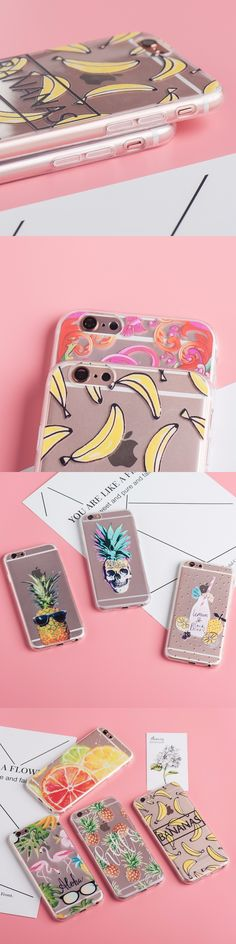 TPU Phone Cases For iphone 7 Case For iphone 7plus Flamingo fruit pineapple Pattern Transparent Soft Cover for iphone 7