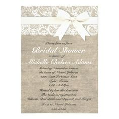 White Vintage Lace Burlap Bridal Shower Invitation