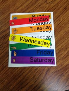 Student will match days of the week with corresponding day of the week.