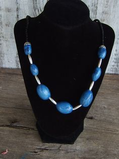 Handmade blue necklace only on craftshowcase.net