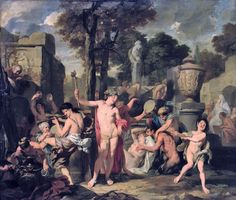 """The Feast of Bacchus"".   Painting by artist Gerard de Lairesse.  Date: 1680"