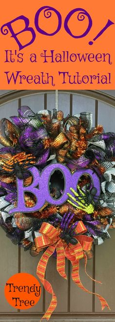 Boo! It's Halloween! Wreath Tutorial 2017 - Trendy Tree Blog| Holiday Decor Inspiration | Wreath Tutorials|Holiday Decorations| Mesh & Ribbons