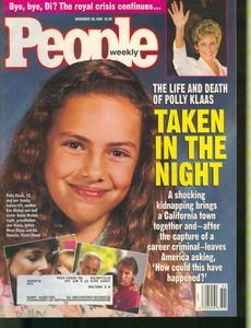Polly Klaas - January 3, 1981 – October 1, 1993  the age of twelve, she was kidnapped at knife point from her mother's home during a slumber party in Petaluma, California, She was later strangled. Richard Allen Davis was convicted of her murder in 1996 and sentenced to death