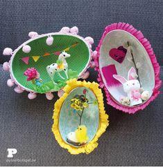 Easter Egg Dioramas by Pysselbolaget Easter Arts And Crafts, Spring Crafts For Kids, Hoppy Easter, Easter Eggs, Easter Pictures, Easter Colors, Easter Activities, Easy Crafts For Kids, Vintage Easter