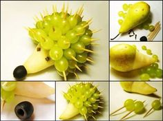 Porcupine made out of fruit