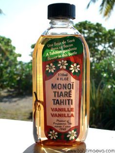 Tahitian Monoi Oil. Makes your hair glossy, long, and shiny. I swear by this stuff. Tahitian women have used this secret for ages!