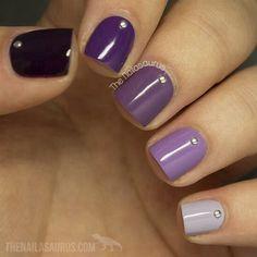 Ombre Purple Nail Design for Short Nails. - Nails Tip Purple Nail Art, Purple Nail Designs, Short Nail Designs, Colorful Nail Designs, Nail Art Designs, Nails Design, Purple Glitter, Purple Ombre Nails, Design Art