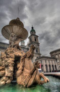 The Horse Fountain at the Residenzplatz in Salzburg, Austria