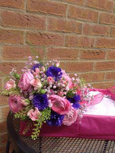 Ranunculus. Gypsophila, cornflower bridal bouquet