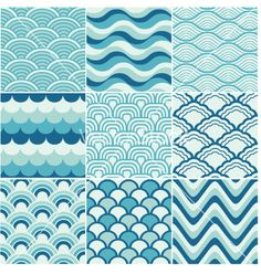 Seamless ocean wave pattern vector by paul_june - Image #1379838 - VectorStock