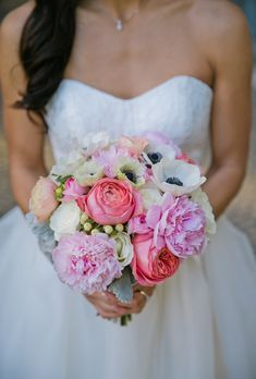 Pink and white peonies with white ranunculus and anemones is fresh and summery