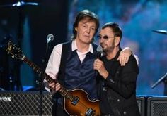 They got by with a little help from their friends. The two surviving Beatles -- Paul McCartney and Ringo Starr -- rocked out at a concert to mark the anniversary of their British Invasion of America Monday night Les Beatles, John Lennon Beatles, Beatles Songs, Alicia Keys, Maroon 5, George Harrison, Katy Perry, Paul Mccartney Ringo Starr, Liverpool