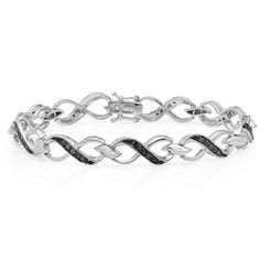 0.75 Carat (ctw) Sterling Silver Round Black Diamond Ladies Infinity Heart Tennis Link Bracelet 3/4 CT -- Click image to review more details.
