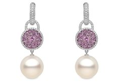 BELGRAVIA Yoko London 18kt white gold with 13-14mm South Sea pearls, 0.72ct diamonds and 1.99cts pink sapphires.