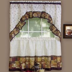Kitchen Decor Themes Coffee coffee themed kitchen curtains tiers valance set complete curtains