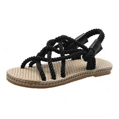 Costbuys Platform Sandals Shoes Braiding Cross-Tied Hemp Comfortable Vintageladiator Non-Slipladiator Sandals For Women Rope Sandals, Bohemian Sandals, Open Toe Sandals, Shoes Sandals, Stylish Sandals, Womens Summer Shoes, Beach Shoes, Fashion Sandals, Woman