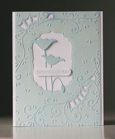 beautiful embossed front plate from gorgeous embossing folder and Memory Box die cut flowers...