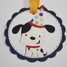Birthday Gift tags - party favor tags, dog with party hat, scallops, set of 6. $5.00, via Etsy.