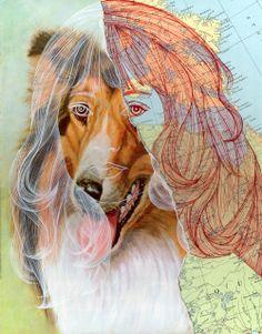 Collages et illustrations par B.A Lampman Collages, Canada Online, Dog Lady, Kitsch, Illustration, Past, Moose Art, Creatures, Artist