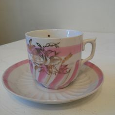 Pink, Gold, White Rose Tea Cup and Saucer