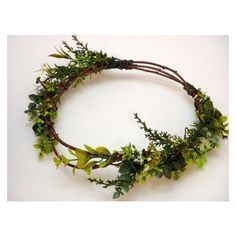 Green leaf flower Crown, Floral Headband,wedding headpiece, hair... via Polyvore featuring accessories, hair accessories, flower crown, flower crown headband, floral hair accessories, leaf garland and garland headband