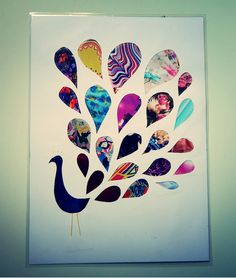 Recycled magazine art: Peacock brights AUD32.00 by ThePaperGirl14