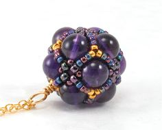 Handcrafted Amethyst and Gold Beaded Pendant Necklace