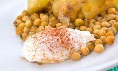 Receta de Garbanzos fritos con huevo escalfado