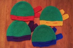 Butterfly's Creations: Masked Beanies: Ninja Turtles.  A free pattern!  YES!!