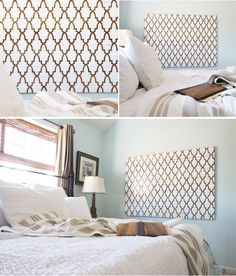 Hesitant about stenciling a whole wall in our master bedroom, but this is a solution! Love how she stenciled wood to hang as giant artwork on her wall!!