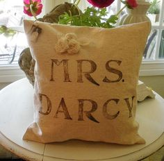 Mrs Darcy PILLOW Sham Jane Austen Inspired by LittleLauraStitches, $19.00