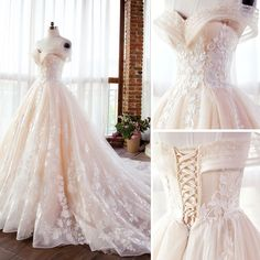 Elegant Champagne Wedding Dresses 2018 Ball Gown Lace Appliques Pearl Off-The-Sh. - Elegant Champagne Wedding Dresses 2018 Ball Gown Lace Appliques Pearl Off-The-Shoulder Backless Sle - Wedding Dress Train, Wedding Dresses 2018, Perfect Wedding Dress, Quinceanera Dresses, Bridal Dresses, Lace Wedding, Wedding Rings, Champagne Wedding Dresses, Ball Gown Wedding Dresses