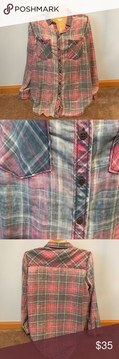 UO BDG plaid button up In great condition, no flaws, BDG plaid button up Urban Outfitters Tops