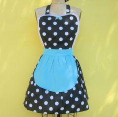 retro apron  ..... RETRO black polka dot apron with turquoise fifties details sexy hostess gift vintage inspired womens full apron. $28.50, via Etsy.
