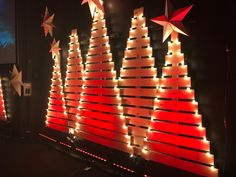 Clustered Trees - Church Stage Design Ideas - Scenic sets and stage design ideas from churches around the globe. Christmas Stage Design, Christmas Yard Art, Pallet Christmas Tree, Christmas Wood Crafts, Christmas Diy, Handmade Christmas, Xmas, Outside Christmas Decorations, Christmas Lights Outside
