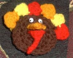 TOM THE TURKEY PIN - free crochet pattern