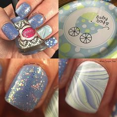from @lutz_lacquer_lover I'm gonna be a Great-Aunt again! The baby shower is Sunday so I wanted to do a mani that matches the theme. This is Seas of Silence by Glisten & Glow China Glaze Re-fresh Mint and Snow Julep Camille and some Sally Hansen XTreme Babe Blue. Marble was done with my fave tool from What's Up Nails. My topcoat is always HKGirl from Glisten&Glow. #GlistenandGlow #diynails #nailart #polishaddict  #naturalnails #summernails #summernailart #whatsupnails #julep #bluenails…