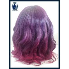 The back of a custome made wig. Diffrent shades of burgandy.