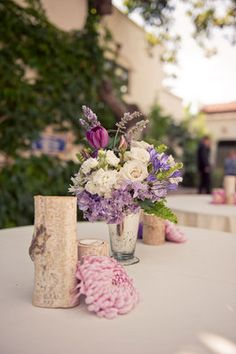 A smattering of rustic lavender decor Photo byHello Studios Event CoordinationLindye Galloway Design Flowers byArt With Nature - Project Wedding