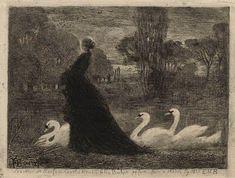 Félix Hilaire Buhot - La Dame aux Cygnes, 1879