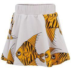 Yellow Fish Print Sweat Skirt