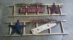 Easy primitive decor with things bought out of any primitive shop or hobby store....just some hot glue and it is a perfect wall hanging....