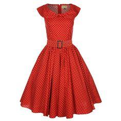 Hetty/Marylou dress rood -polkadot vintage, 50's, rockabilly, retro lange jurk