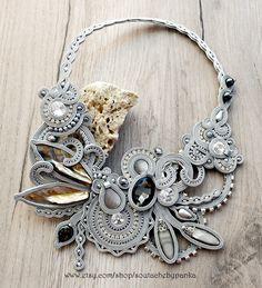 #jewelry #handmade #etsy #necklace #gray #sutasz #soutache #homework #soutachemania #fashion #accessories #czechbeads #beadwork #cordnecklace