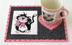 Cat Mug Rug, Quilted Mug Rug, Snack Mat, Pink Black Mug Rug, Fancy Cats, Quiltsy Handmade by RedNeedleQuilts on Etsy