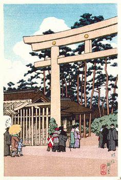 hanga gallery . . . torii gallery: Meiji Shrine, Tokyo by Kawase Hasui    1936